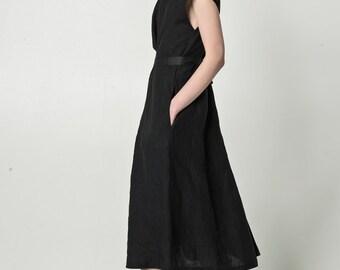 NEW Black linen dress with pockets / bell shape linen dress with belts / black maxi dress /  elegant collar / short sleeve dress