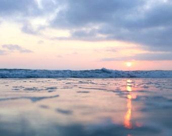 Lightning Sun Sunset Print Pink Sunbeam California Art Pink Blue Wall Art Peaceful Nature Photo Ocean Beach Photography Pastel Wall Art