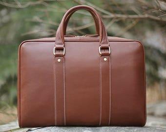 Light Brown Leather Messenger bag/ Leather Bag/ Leather Briefcase / Leather School Bag/ Leather Mens Bag/ Strap Included!
