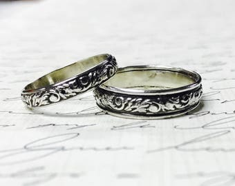 """Vintage Style Sterling Silver Pattern Wedding Bands - Matching pair """"Leaf Scroll"""""""