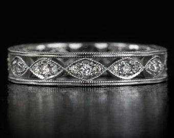 Vintage Antique Diamond Wedding Band 14K White Gold Engraved Filigree Milgrain Marquise Stacking Eternity Round Stone Ring 7916