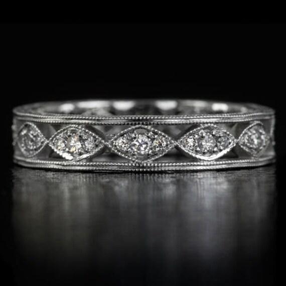 Vintage Antique Diamond Wedding Band 14K White Gold Engraved