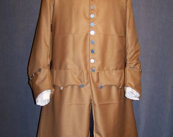 Frock Coat Caramel Brown In-stock 1760 Gabardine Wool 18th Century Pirate