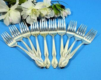 Ten Vintage Wm Rogers Silverplate Dessert Salad Forks 1955 Basque Rose