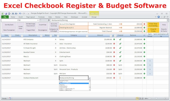 excel checkbook register