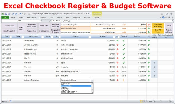 Excel budget spreadsheet template and checkbook register