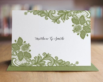 Personalized Stationery Note Card Set - Set of 10 Folded Shimmer Note Cards - Lacey Lace