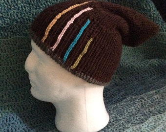 Reversible knitted slouchy hat, double thickness with stripe feature