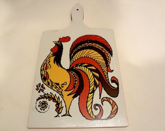 Vintage Decorative Cutting Board With Rooster Howard Holt 1960s Mid Century Light Wear 15 X 8 X 1/2 Inch