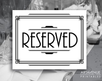 "Gatsby Printable Art Deco Sign - ""RESERVED"" Sign - Black and White Classic Wedding digital file - VW1"