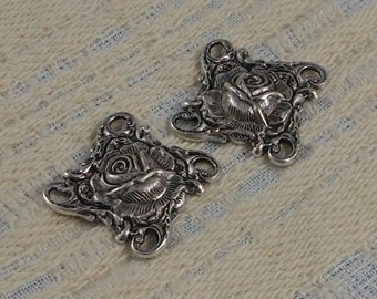 LuxeOrnaments Sterling Silver Plated Brass Filigree Rose 4 Loop Connector (Qty 2) F-7405-S