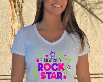 Educational Rock Star V-Neck Shirt