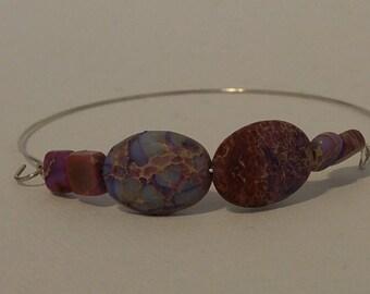 Fashionable Purple Jasper Womens Wire Bracelet
