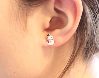 Snowman Stud Earrings, Christmas gift, Holiday Gift, Sterling Silver stud Earrings, cute Earrings, Children Earrings, Gift for Children