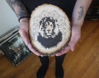 Lion Wood-Burned Wall Hanging