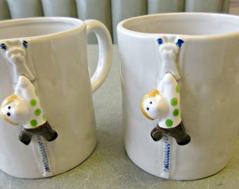 Vintage Mugs, Zipper Mugs, Coffee Cups, Ceramic Cup, Fitz and Floyd, Cute Kawaii Zakka, 1970s Mugs, Kitschy Mugs, Made in Japan Coffee Cups