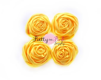Yellow Small Satin TWISTED Rosettes...You Choose Quantity...Rolled Rosettes..Rolled Rosettes...Rosettes