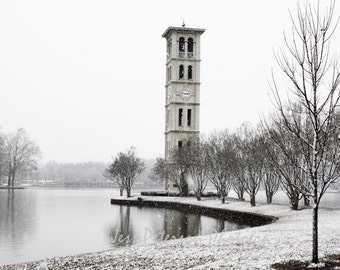 Furman University Photos, Bell Tower photograph, Greenville SC Print Dreamy Winter Snow Photo Photography Black & White Neutral Wall Decor