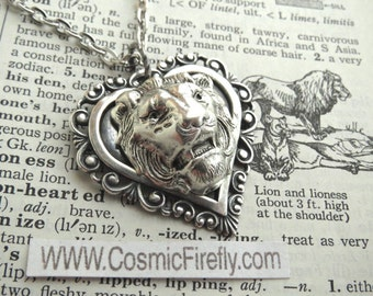 Lion Necklace Antiqued Silver Heart Necklace Lion Pendant Feminine Gothic Victorian Steampunk Jewelry