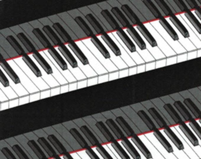 "23"" REMNANT Concerto - Piano Keys in Black - Cotton Quilt Fabric - Maria Kalinowski (Kanvas) & Benartex Fabrics - 6247-12 (W2604)"