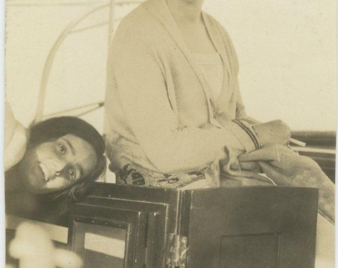 Vintage Snapshot Photo: Gals on Boat Deck, c1920s [84664]