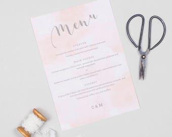 Romance wedding menu cards
