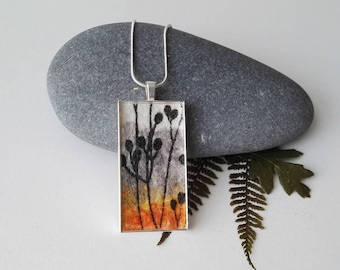 Hand Made Rectangular Nuno Felt Pendant with Botanical Design in White, Grey, Yellow and Black