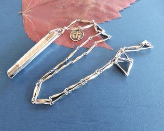 Knife Necklace, Pocket Knife, Pen Knife, OakandThorn knife on a Chain, Cross Medal, Vintage Monet Chain, Long Silver Chain