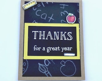 Thank You Card, Teacher Appreciation, Gift Card Holder, Apple Card, School Blackboard, Teacher Gift, End Of Year, Classroom Card,