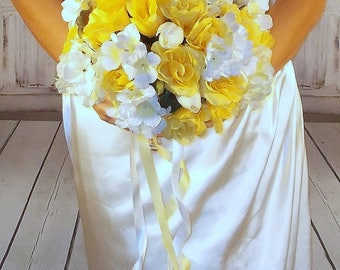 Yellow bouquet etsy yellow bouquet sunbeam and white wedding yellow bridal bouquet rose tulip bouquet wedding boutonniere artificial flowers mightylinksfo