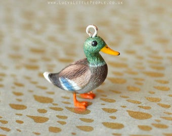 Hand Sculpted Mallard Duck Pendant with Chain