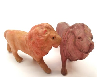 Celluloid Lion Toy Animals, Viscoloid, V Co. USA, Vintage Toys, 1930