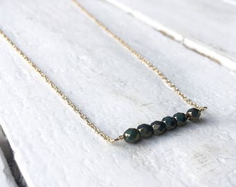 Beaded bar necklace/ gold fill necklace/ minimalist jewelry/ delicate necklace