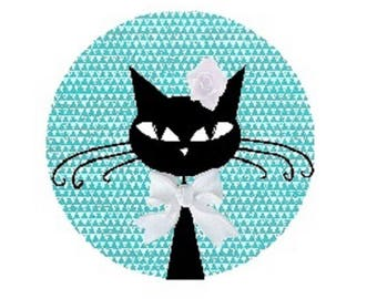 cabochon black cat, 20mm, blue, white node