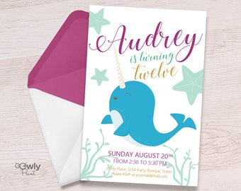 Printable Personalized Narwhal Birthday Invitation.Ready to print Narwahl Invitation. Girl Birthday Invitation. Ocean invitation.