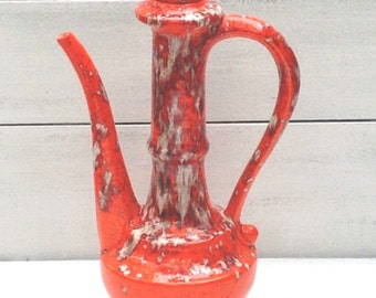 Vintage Retro Orange Drip Glaze Pitcher Vase, Drip Glaze Pottery