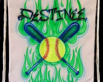 Airbrush Drawstring Backpack Sports Softball Crossed Bats Baseball Volleyball Basketball Football Custom Airbrushed Names Canvas Tote bag