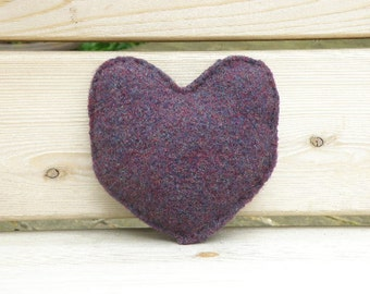Hand Knit Stuffed Heart, Felted Wool Plush Heart: Purple