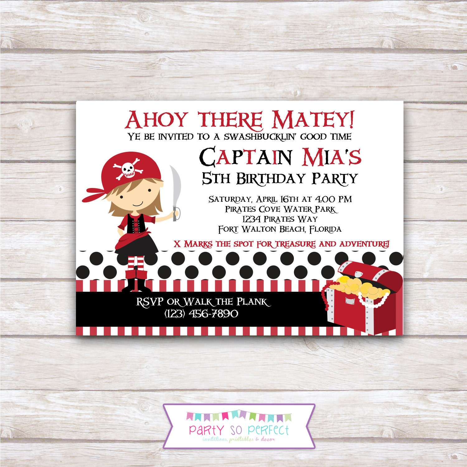 PIRATE GIRL Red Birthday Party Invitation Printable