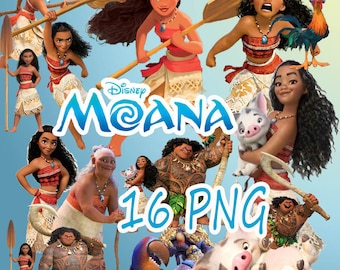 Moana Disney Digital Collage Set of 16 Printable Image clipart Download