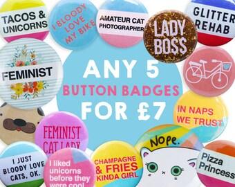 Badge set, button pins, button badges 25mm, 32mm, Pin badge set