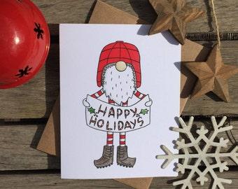 Happy Holiday card set, gnome holiday card, Christmas card, blank card, tomtar card, Christmas elf, Christmas gnome, holiday card, Xmas card