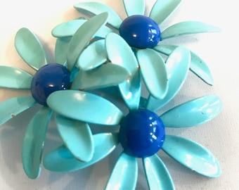 Vintage Aqua Blue Daisy Enamel Brooch Aqua Blue and Cobalt Blue Enamel Mod Flower Jewelry Enamel Brooch Enamel Jewelry Boho Style