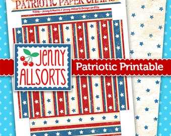 Patriotic Stars and Stripes Paper Chain Printable, 4th of July Red White and Blue, Paper Chain, Party Supplies
