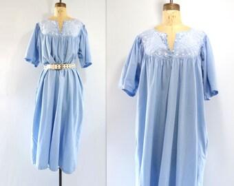 Vintage Caftan Dress Boho Summer Dress Vintage Caftan Vintage 70s Dress Chambray Dress Embroidered Dress Blue Summer Dress One Size