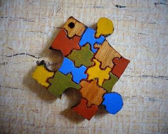 SALE - Missing Pieces Puzzle Pendant, Wooden Pendant, Handmade Pendant, Pyrography Pendant, Wood Burned Pendant, Scroll Saw Pendant