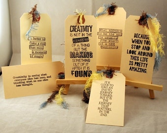 Creativity, Art,hand stamped,tag, journal spots,