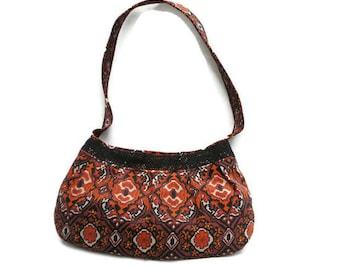Small Handbag, Vintage Sueded Canvas in Retro Ethnic Print