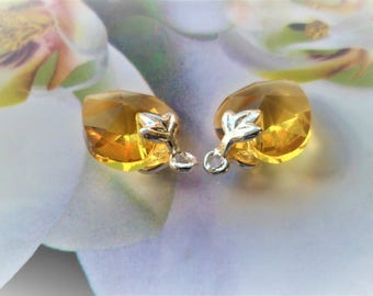 2 hearts yellow holder bail clip ideal for stud earrings pendants, 16 mm maple leaf
