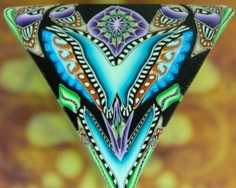 Polymer Clay Kaleidoscope Triangle Cane- 'Deep Blue Sea' series (43cc)